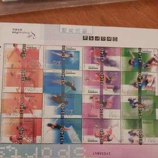 體育運動郵票(包括跳水、排球、單車、短跑接力)