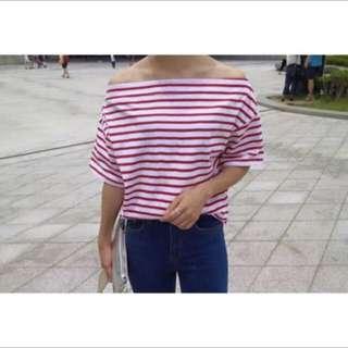 (正韓)紅白條紋露肩斜肩上衣
