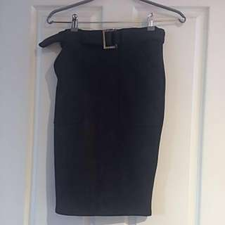Skirt Stretch Suede Black Sz8