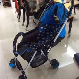 Graco city 藍色星星 嬰兒手推車 贈送原廠雨罩