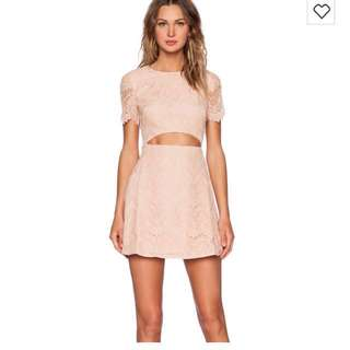 REVOLVE CLOTHING STYLESTALKER Peach Lace Cut Out Dress