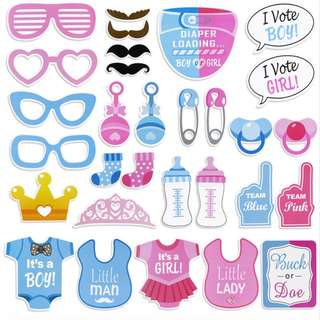 ✔️Ready Stock Gender Reveal Baby Shower Photo Booth Props