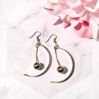 Gold pearl half moon dangle earriny