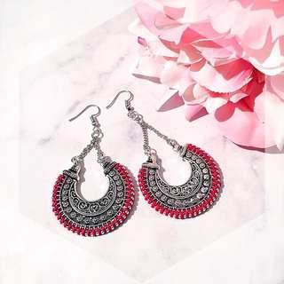 Red boho fashion earring