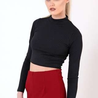 h&m black ribbed long-sleeve crop