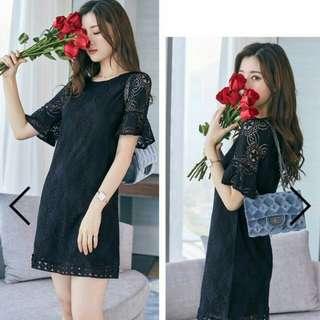 Floral Lace Mesh Shift Dress