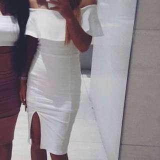 WHITE DRESS OFF THE SHOULDER