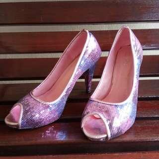 Sequin payet sepatu pink