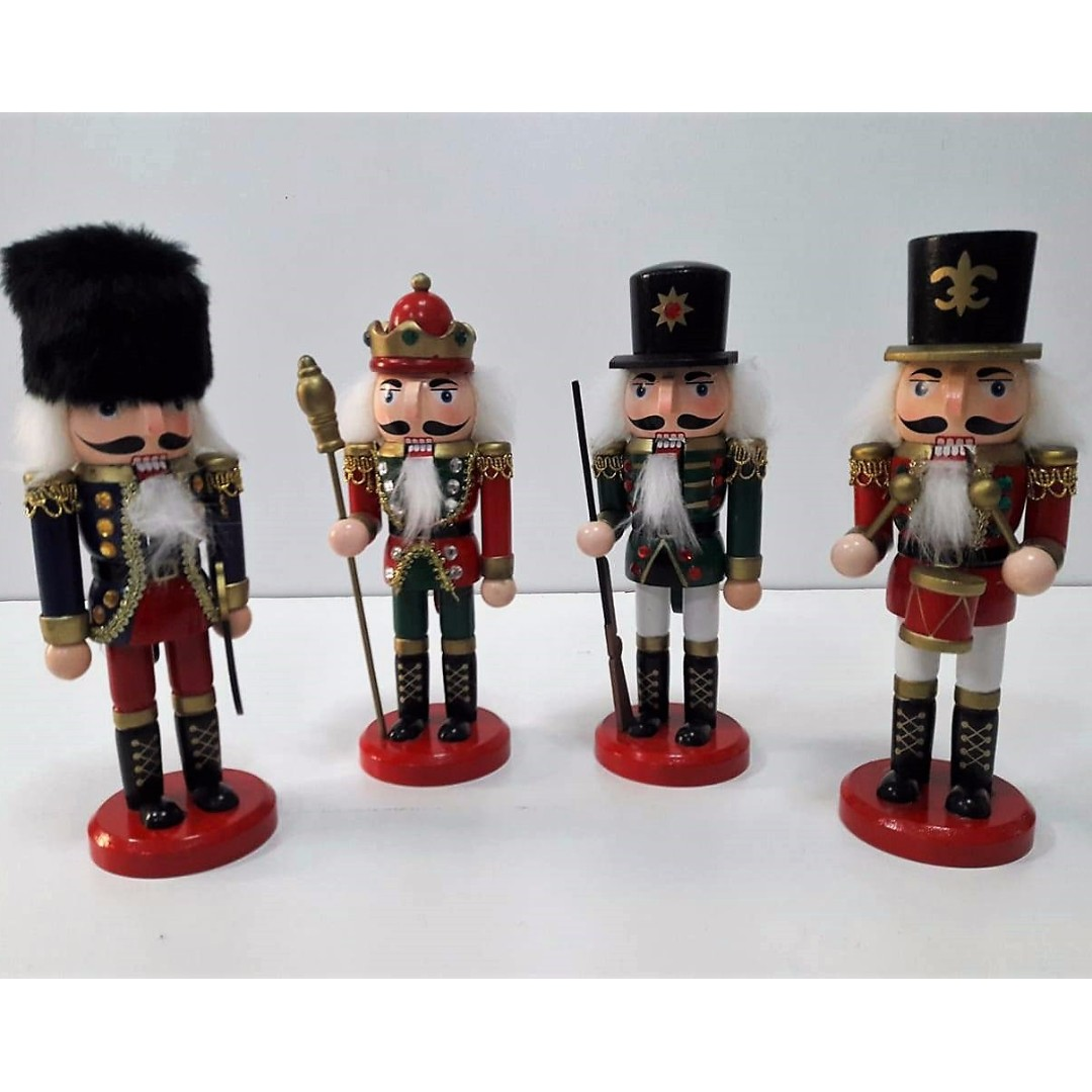 20cm 4pcs. Set Christmas Wooden Nutcracker Soldiers