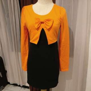 Black Orange Dress With Bow Accent