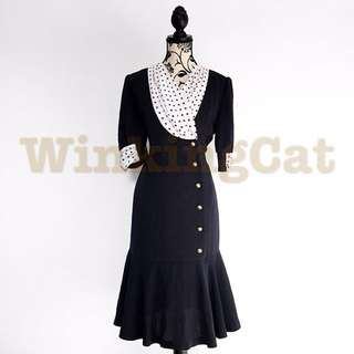 (D168)Vintage Navy Polkadot Dress