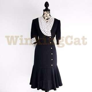 (D168)Vintage Navy Polkadot Dress