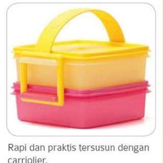 Tupperware kotak makan lunch box susun dengan gagang pegangan kotak small carty all set