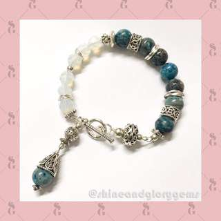 Gelang dyed blue crazy lace agate n batu moonstone Australia faceted cutting