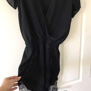 Black lace playsuit size L