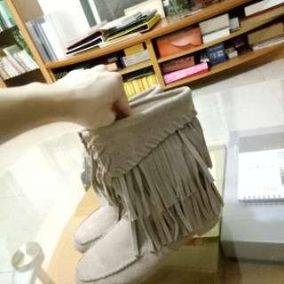 反折流蘇中筒靴