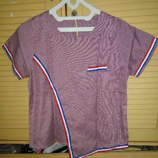 Blouse Red Blue Stripes