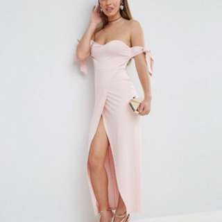 ASOS PETITE Bow Off The Shoulder Maxi Dress With Wrap Front