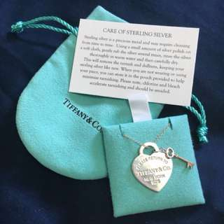 """Authentic """"Return to Tiffany Heart Key Pendant"""" Sterling silver and Rubedo® metal"""