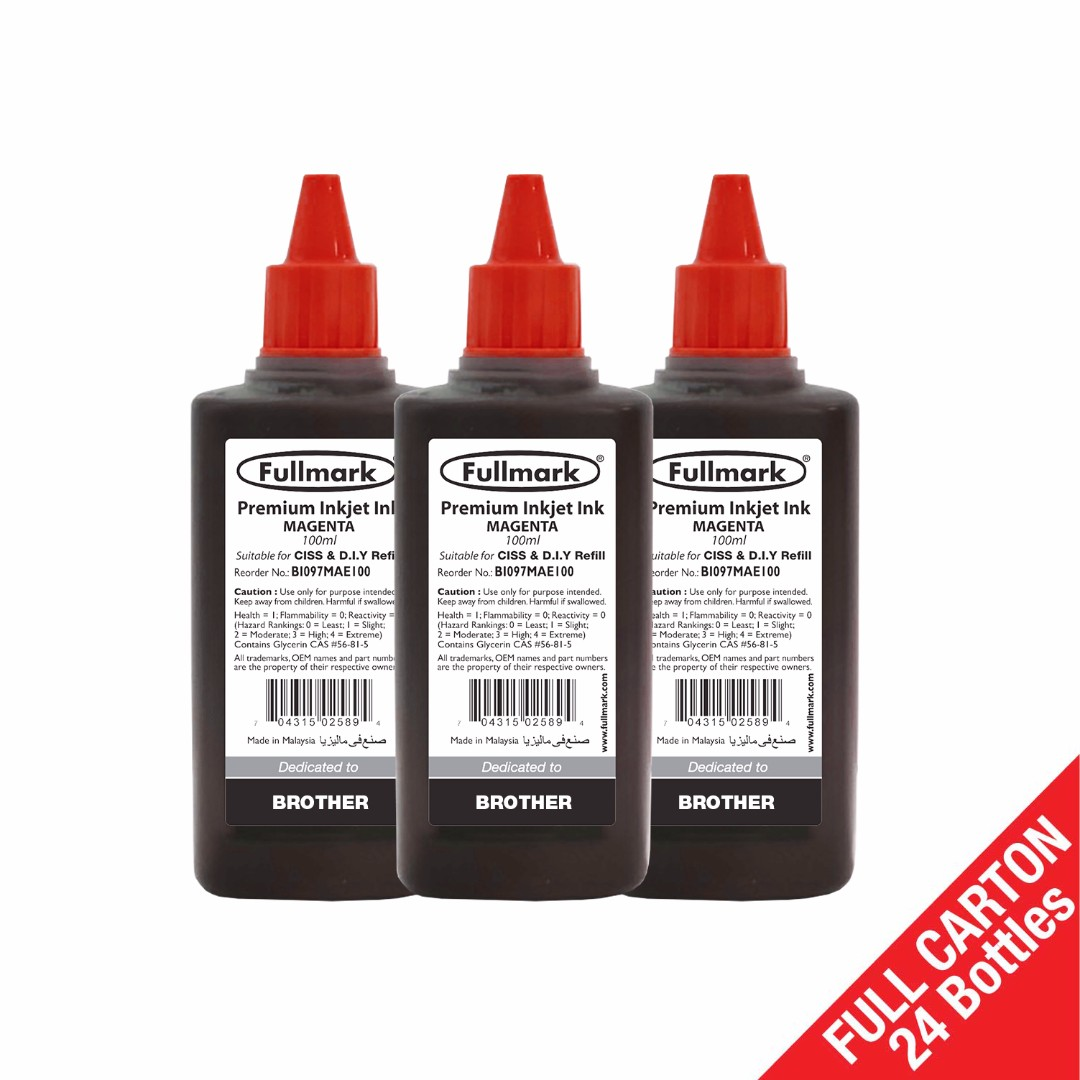 24 x Fullmark Premium Inkjet Ink, 100ml, Magenta, Compatible with BROTHER