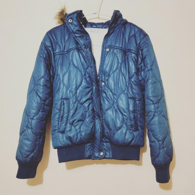 寶藍色內刷毛保暖外套 #四百不著涼