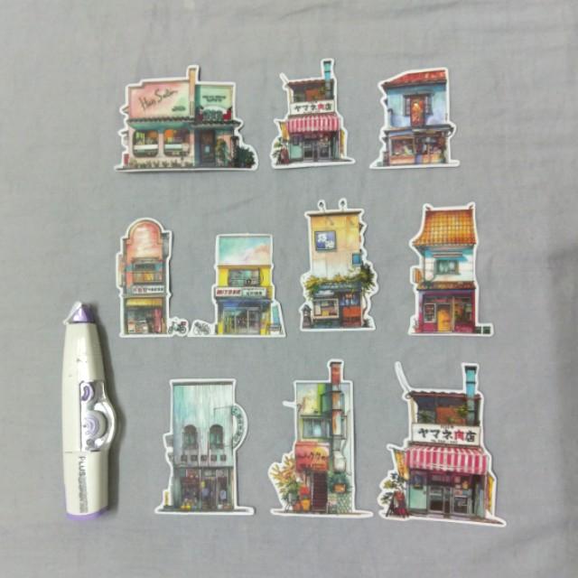手繪城市房子手帳裝飾貼紙