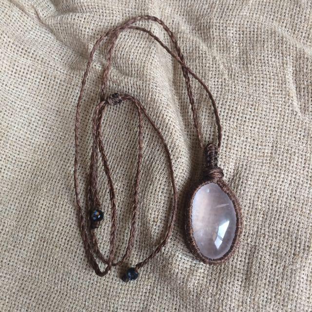 南美蠟繩手工編織粉晶項鍊