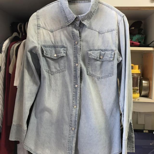 珍珠釦牛仔襯衫外套
