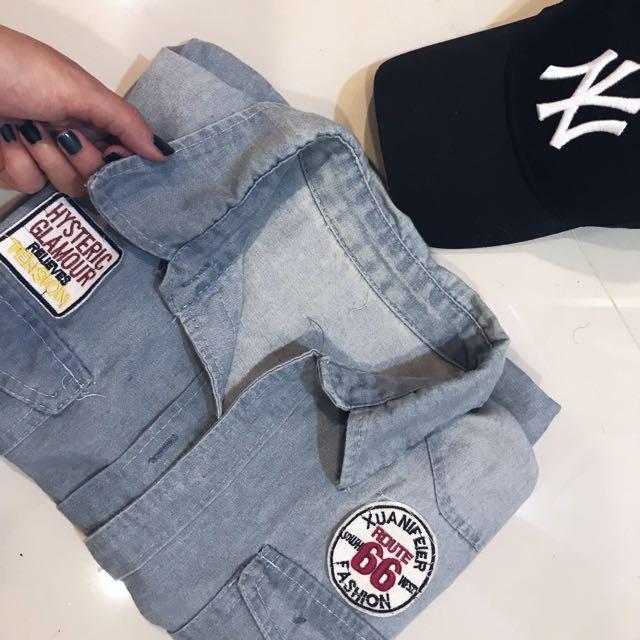 復古牛仔罩衫(襯衫)