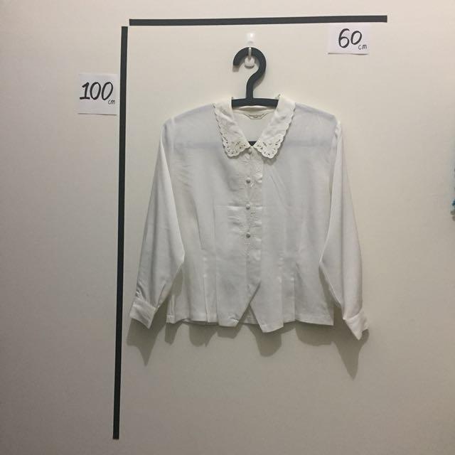 復古 絲質 白襯衫 典雅 古著 古董貨