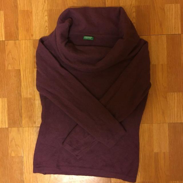 班尼頓 紫色羊毛衣 S號