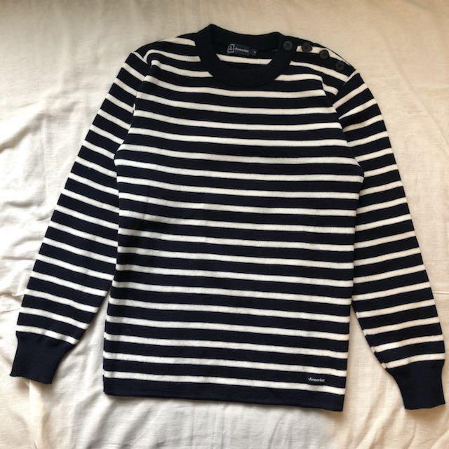 長袖橫條毛衣 Armorlux jumper streetwear 羊毛 海軍藍 橫條紋 11月