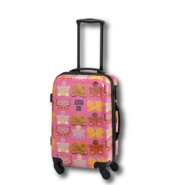 """Anna Sui 20"""" Pink Luggage Bag with Butterfly Printing"""