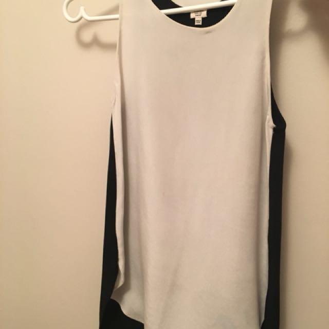 Aritzia silk black and off white tank blouse