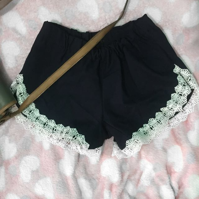 Basic Navy Blue Lace Short