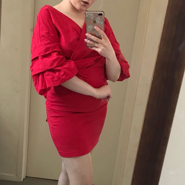 Beautiful new red Zara dress with stunning flared sleeves