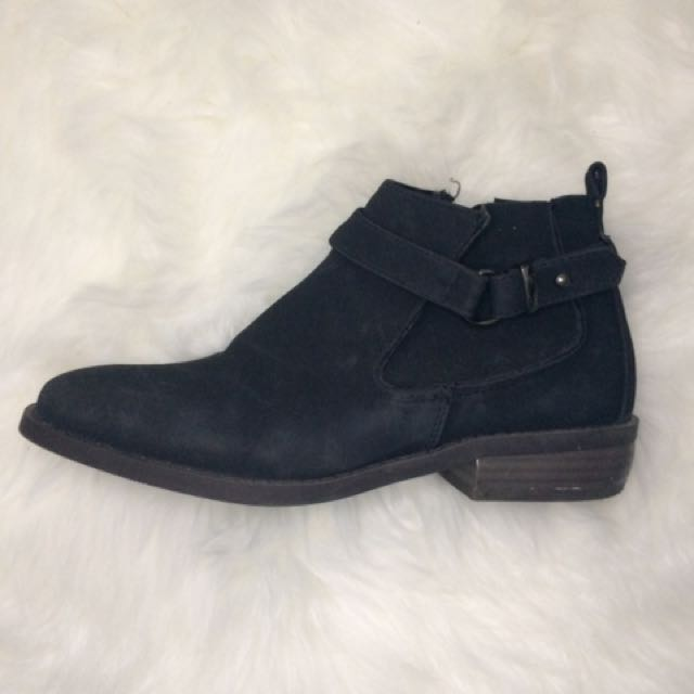 Black Ankle Boots with Buckle