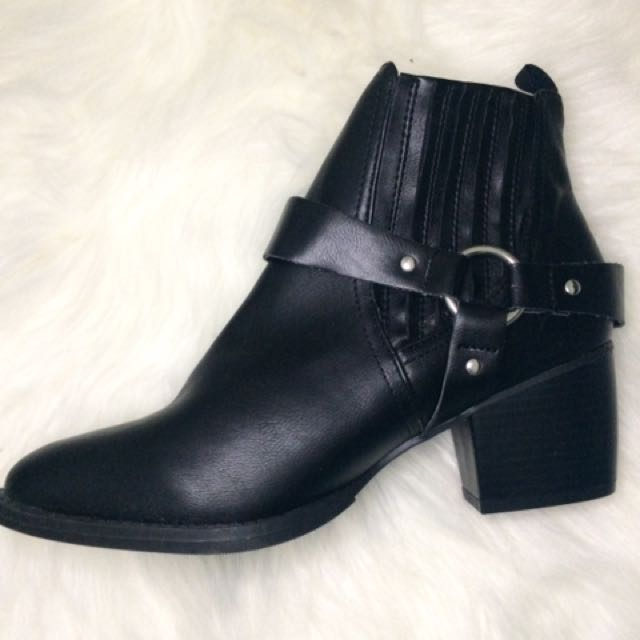 Black Ankle Boots with Steampunk Buckles
