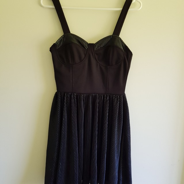 Black Ribbed Back Cocktail Dress Size XS