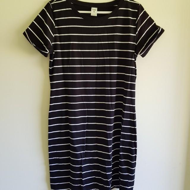 Stripped T-shirt Dress Size 12