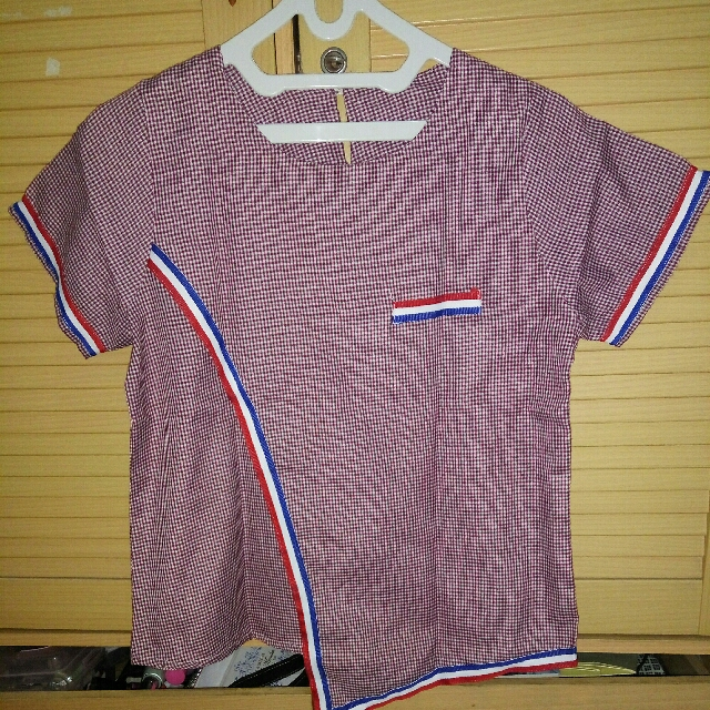 Blouse Top Red Stripes