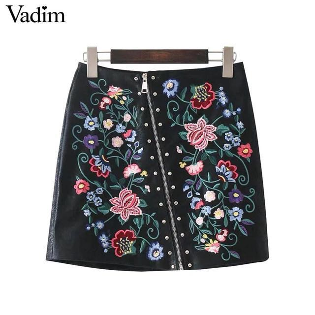 BNIB PU Leather Skirt with Floral Embroidery