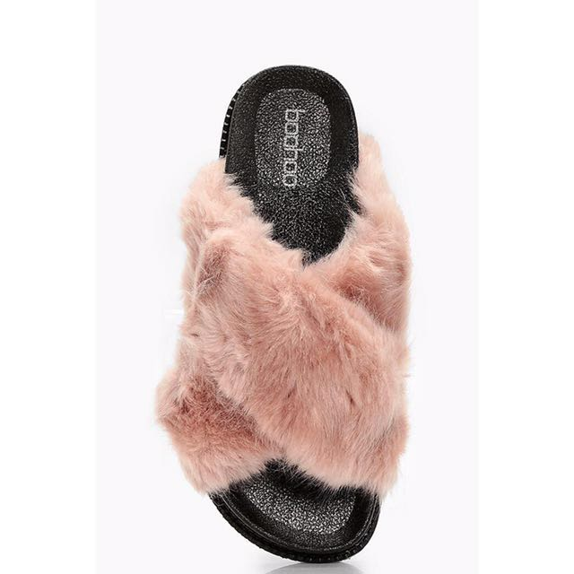 BOOHOO Freya Fur Cross Front Slider