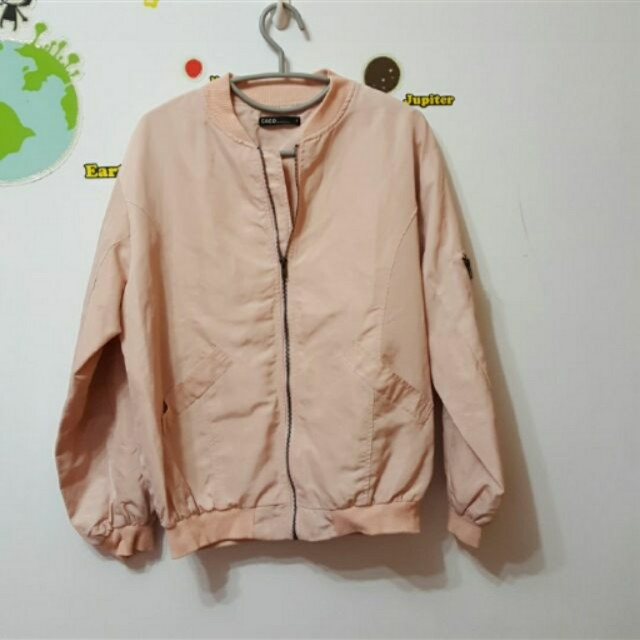 CACO 粉紅寬鬆飛行外套#四百不著涼