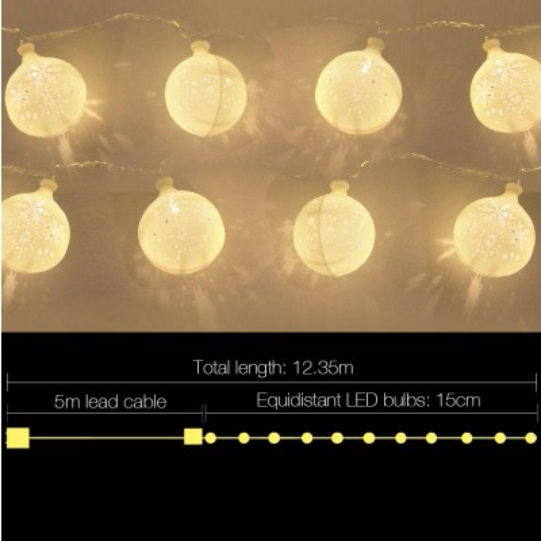 Christmas LED Snowflake String Lights SKU: XMAS-LED-BALL-50
