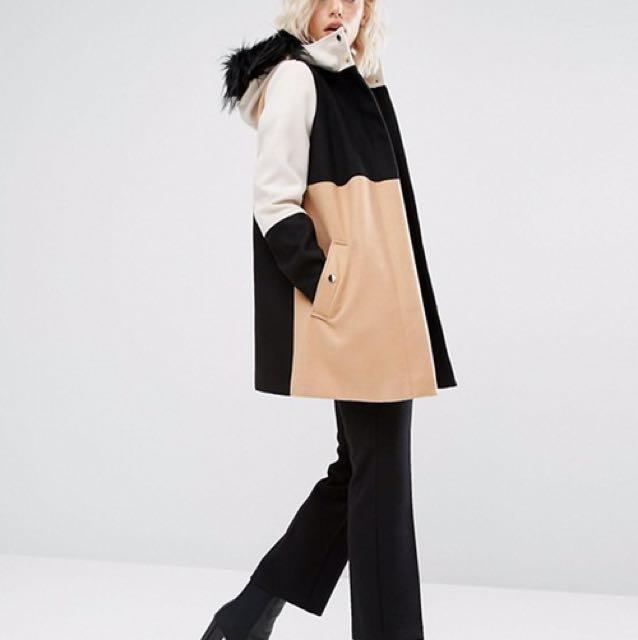 Color block winter hooded jacket