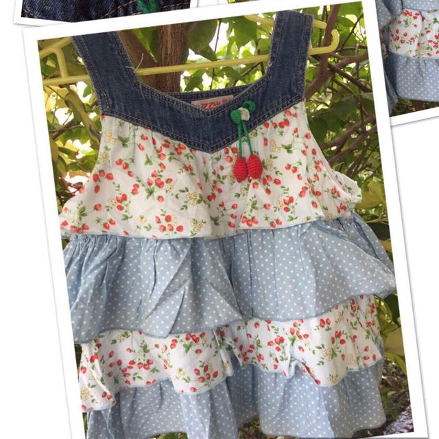 Cute denim strawberry floral kids dress(1-3yo)