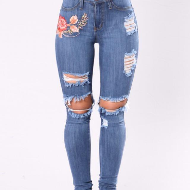 Fashion Nova Floral Embroidered Jeans