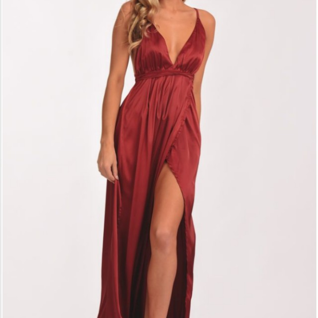 Full length deep red formal dress