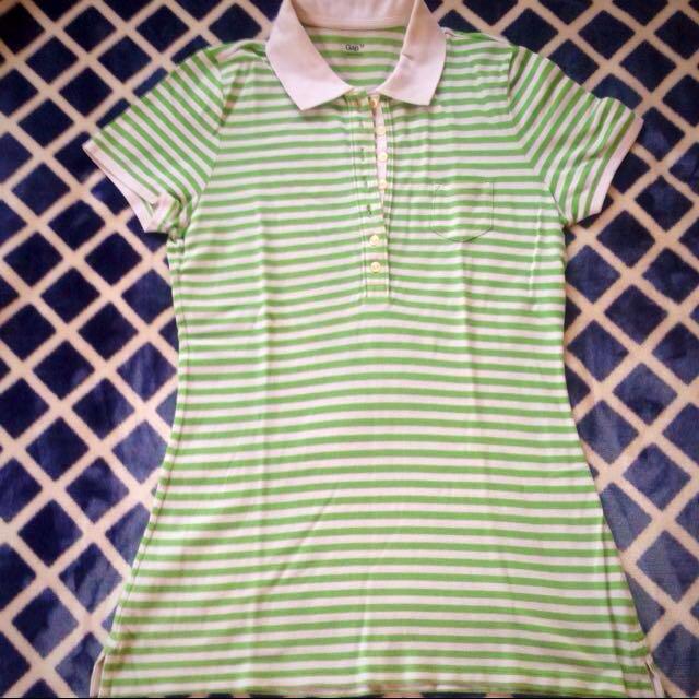 GAP Green Stripe Polo